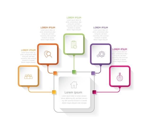 Vektorillustrations-infografiken-designschablonengeschäftsinformations-präsentationsdiagramm mit 5 o