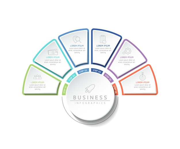 Vektorillustrations-infografiken-designvorlage für geschäftsinformationen präsentationsdiagramm mit 6 optionen oder schritten chart
