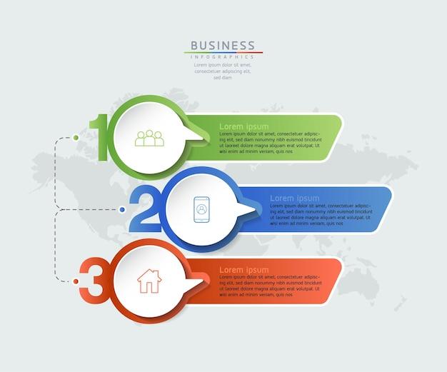 Vektorillustrations-infografiken-entwurfsvorlage geschäftsinformations-präsentationsdiagramm mit 3 optionen oder schritten