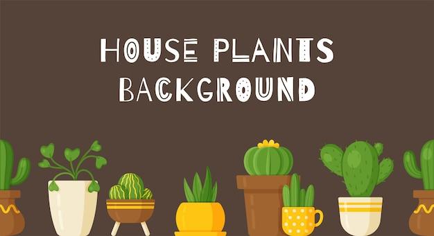 Vektorillustrations-pflanzenhintergrund. schöner hintergrund mit zimmerpflanzen in vasen. große bodenvasen und kleine aufgesetzte vasen.