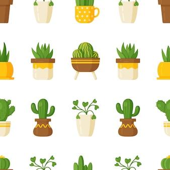 Vektorillustrations-pflanzenmuster auf weißem hintergrund. nahtlose illustration mit zimmerpflanzen. verschiedene blumen in vasen und tassen.