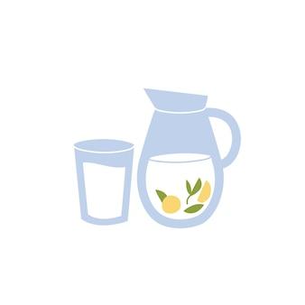 Vektorillustrations-wasserkrug mit zitrone und blättern der minze und einem glas wasser lokalisiert auf einem weißen hintergrund.