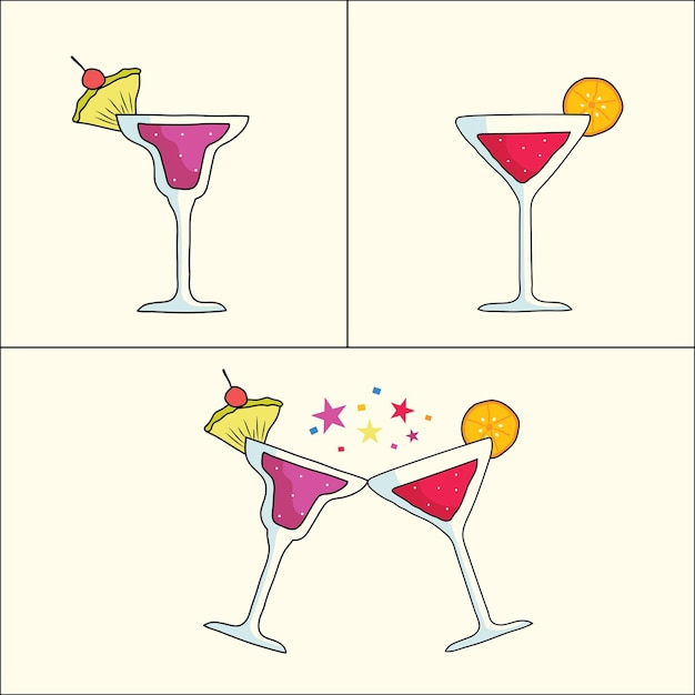 Vektorillustrationscocktails cocktail in einem geschweiften glas gläser anstoßen