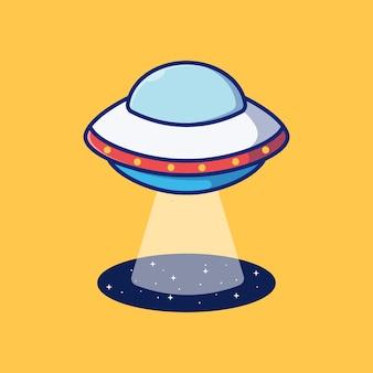 Vektorillustrationsdesign des außerirdischen ufo-flugzeugs über dem premium-isolierten objektdesign des schwarzen lochs Premium Vektoren