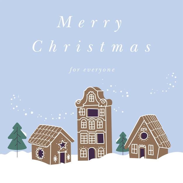 Vektorillustrationsdesign für weihnachtsgrußkarte. sammlung von lebkuchenhäusern. süße naive weihnachtshonigkuchen.