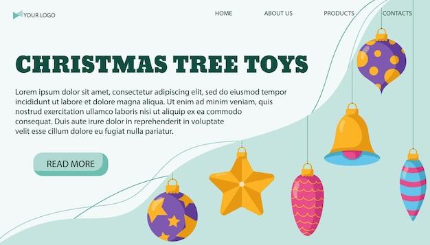 Vektorillustrationsfahnenschablone für geschäft von weihnachtsbaumspielzeug in einem flachen stil