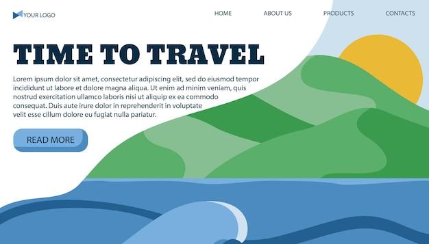 Vektorillustrationsfahnenschablone für reiselicht zum meer in einem flachen stil