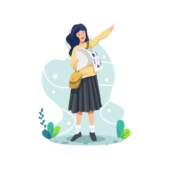 Vektorillustrationsfrau, die nach reiseziel sucht