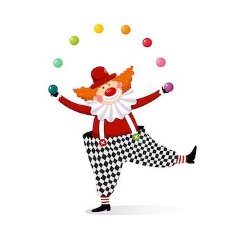 Vektorillustrationskarikatur eines niedlichen clowns, der mit bunten kugeln jongliert.