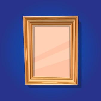 Vektorillustrationskarikatur hölzerner vertikaler rahmen mit glas lokalisiert auf blauem hintergrund