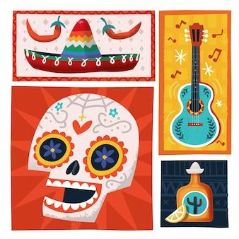 Vektorillustrationskarte mit mexikanischen partyelementen bunter tag des toten schädels
