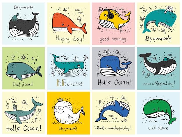Vektorillustrationskarten mit niedlichen gekritzelozeanbewohnern walen in farbe und lustigem motivzitat