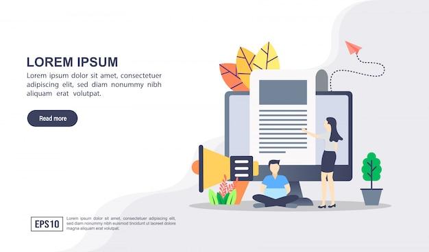 Vektorillustrationskonzept des digitalen marketings mit charakter