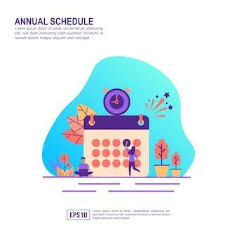 Vektorillustrationskonzept des jährlichen zeitplans