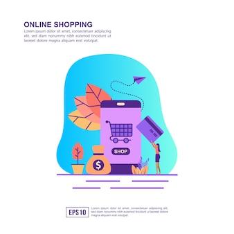 Vektorillustrationskonzept des onlineeinkaufens