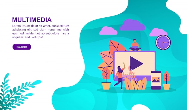 Vektorillustrationskonzept von multimedia mit charakter. zielseitenvorlage