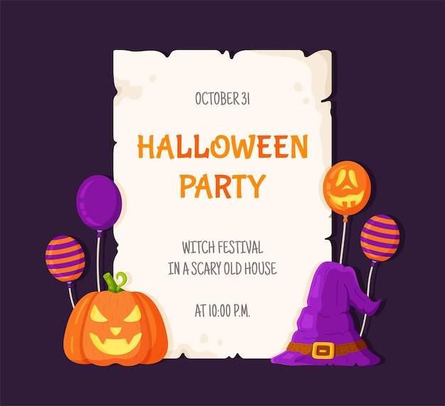Vektorillustrationspostkarte halloween. schönes dekor von halloween-kürbissen und luftballons. brief, urlaubseinladung auf lila hintergrund.