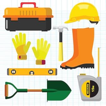 Vektorillustrationssatz auf lager lokalisierte ikonen, die werkzeugreparatur, baugebäude errichten