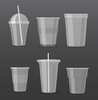 Vektorillustrationssatz der leeren transparenten plastik-wegwerfbecher zum mitnehmen trinkgläser sammlung.