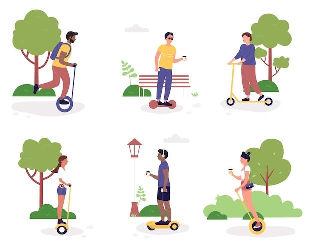 Vektorillustrationssatz der öko-stadttransportaktivität. karikatur aktive frau mann charakter reiten elektrische umweltfreundliche transport in öffentlichen park, roller, hoverboard oder gyroscooter isoliert auf weiß