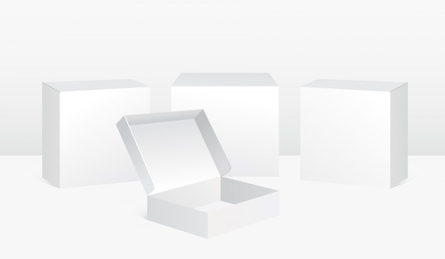 Vektorillustrationssatz der weißen kästen in realistischer artboxenschablone