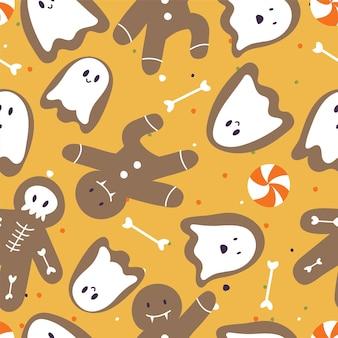 Vektorillustrationssatz lineare ikonen für glückliches halloween. süßes oder saures-symbol. hintergrund oder nahtloses muster.