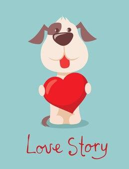 Vektorillustrationssatz nette und lustige karikatur kleine valentinsgrußhunde-welpen, die in herz, rose, flügel und ballon im flachen stil verliebt sind