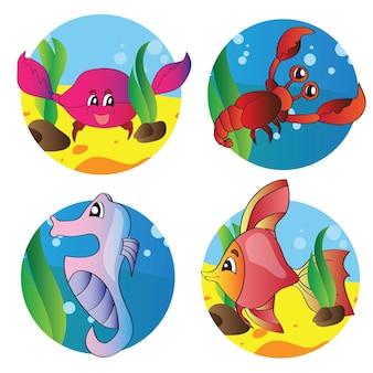 Vektorillustrationssatz von bildern des meereslebens