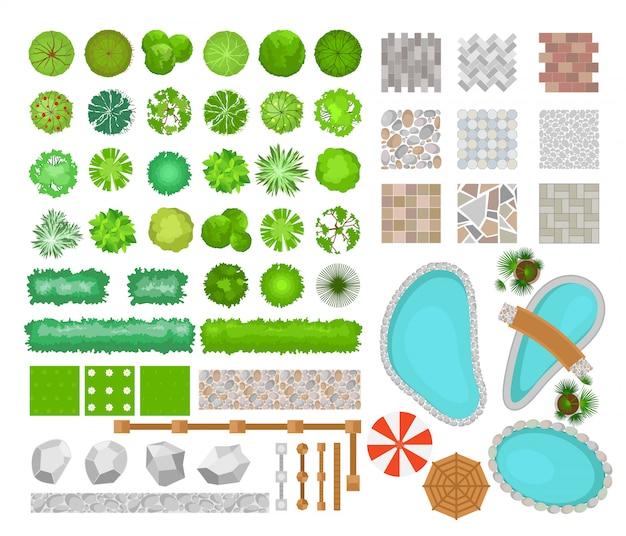 Vektorillustrationssatz von parck-elementen für landschaftsgestaltung. draufsicht auf bäume, pflanzen, gartenmöbel, architektonische elemente und zäune. bänke, stühle und tische, sonnenschirme im flachen stil.