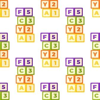 Vektorillustrationswürfelmuster. nahtlose illustration von bunten kinderwürfeln. tapete, teppich, poster, bettwäsche für das kinderzimmer. entwicklungsspiele.
