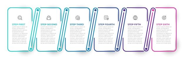 Vektorinfografik-etikettendesignprozesse mit dünnen linienelementen geschäftskonzept mit 6 optionen