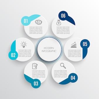 Vektorinfografiken 6 optionen