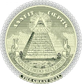 Vektorisiertes pyramiden-siegel von einem dollarschein