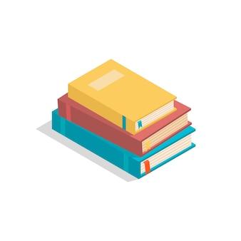 Vektorisometrische bücher auf weißem hintergrund mit schatten stapel realistischer studienbücher