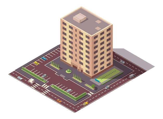 Vektorisometrische hochhaus- und straßenelemente mit platz zum parken. stadt- oder stadtplan-bauelement. symbol für mehrstöckiges gebäude. häuser, wohnungen oder büros