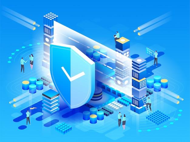 Vektorisometrische illustration moderne technologien, sicherheit und datenschutz, zahlungssicherheit