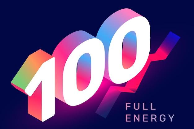 Vektorisometrische typografie der zahl 100 auf dunklem farbhintergrund. kreative illustration der steigung hundert mit text. dekoratives design im 3d-stil für web, site, banner, präsentation