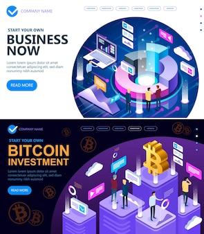Vektorisometrisches konzept der website-geschäftsstrategien und bitcoin-kryptowährung, geschäftsleute, die zusammenarbeiten und eine erfolgreiche geschäftsstrategie entwickeln, vektorillustration