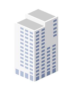 Vektorisometrisches stadtarchitekturgebäude der modernen stadt mit einem straßenstadthaus.