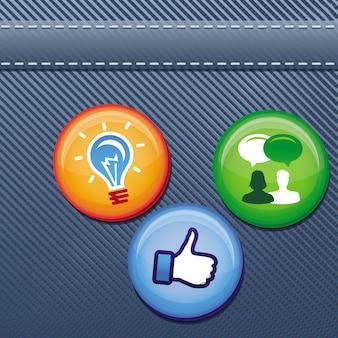 Vektorjeans masern mit stiften und social media-elementen