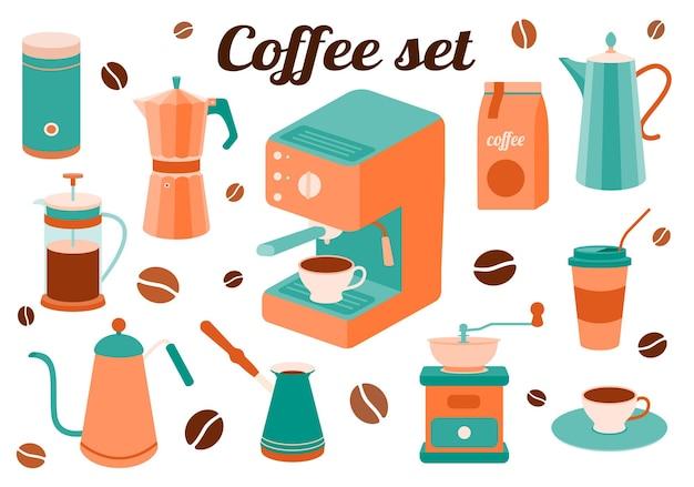 Vektorkaffeeset mit küchenzubehör für die zubereitung eines getränks