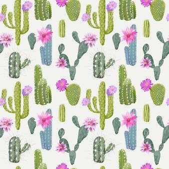 Vektorkaktus-hintergrund. nahtloses muster. exotische pflanze. tropischer hintergrund.