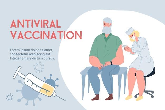 Vektorkarikatur-flacharzt impft älteren patientencharakter in gesichtsmaske-coronavirus-kovid-infektionskrankheitsprävention, diagnose, behandlung und therapie medizinisches konzept, website-banner-anzeigendesign
