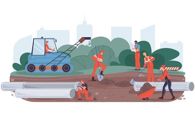 Vektorkarikatur-flache industriearbeitercharaktere bei pipeline-bauarbeiten. ingenieurarbeiter, die neue pipeline-öl- und gastransporte bauen, website-banner-anzeigen-konzept