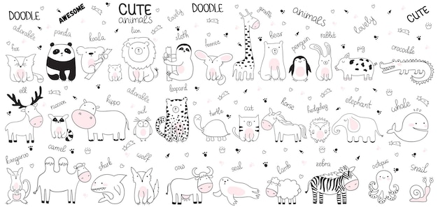 Vektorkarikatur-skizzenillustration mit netten gekritzeltieren. perfekt für postkarte, geburtstag, babybuch, kinderzimmer. lamm, krokodil, zebra, kamel, oktopus, wal, hai, wolf, kuh, schnecke