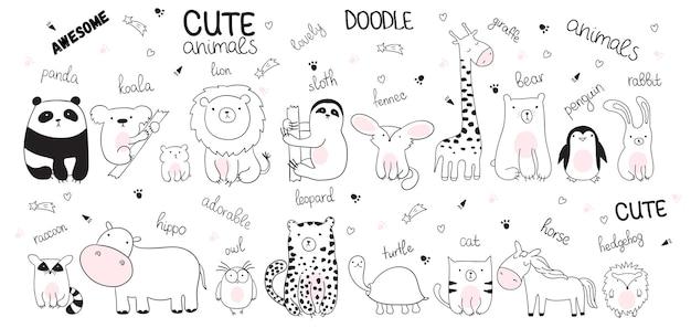 Vektorkarikatur-skizzenillustration mit netten gekritzeltieren. perfekt für postkarte, geburtstag, babybuch, kinderzimmer. panda, koala, faultier, leopard, nilpferd, waschbär, eule, schildkröte, löwe