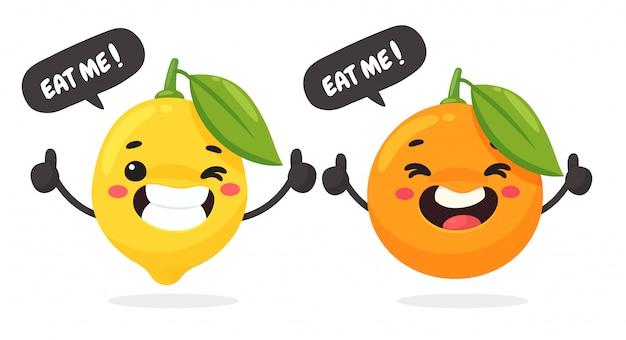 Vektorkarikaturfrucht, die reich an vitamin c ist. glückliche zitronen und orangen daumen hoch isoliert auf weißem hintergrund