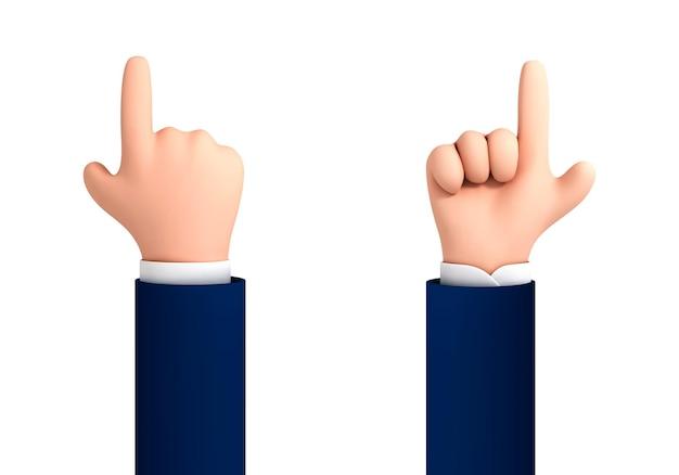 Vektorkarikaturhand mit dem finger, der oben lokalisiert auf weißem hintergrund zeigt. menschliche hand, die etwas berührt oder zeigt. cartoon-charakter-hand nach oben geste.