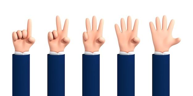Vektorkarikaturhand zeigt finger und zählt von eins bis fünf lokalisiert auf weißem hintergrund. cartoon-reihe von zählen der hände. handgestenzahlen.