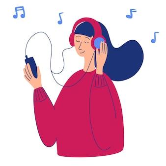 Vektorkarikaturillustration der jungen hübschen frau in den hörenden musik der kopfhörer. musikliebhaberin entspannt sich, wenn sie ihr lieblingslied genießt. frauenfigur, die smartphone in der hand hält. radio, podcast.
